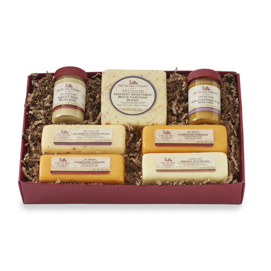 Sampler includes a variety of cheese and mustard