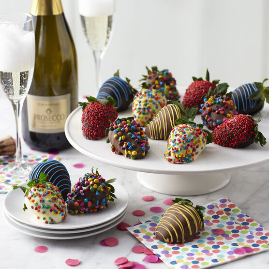 12 assorted milk, dark, and white chocolate dipped strawberries with birthday sprinkles and La Fornarina Prosecco