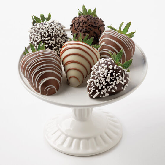 6 Assorted Dark & White Chocolate Covered Strawberries