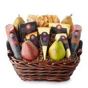 Epicurean Basket includes dry salami, various cheeses, crackers, and fruit