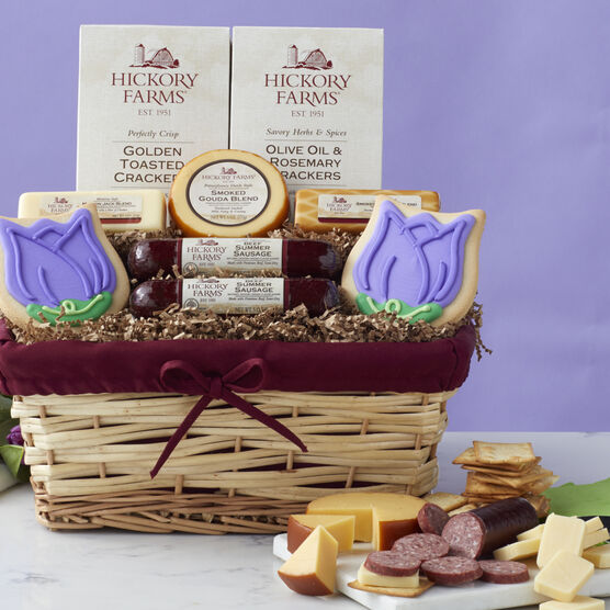 Signature Spring Gift Basket includes cheese, sausage, crackers, and a tulip cookie