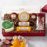 Hickory Farms Holiday Cravings Assortment Gift Box includes sausage, cheese, nuts, and pretzels