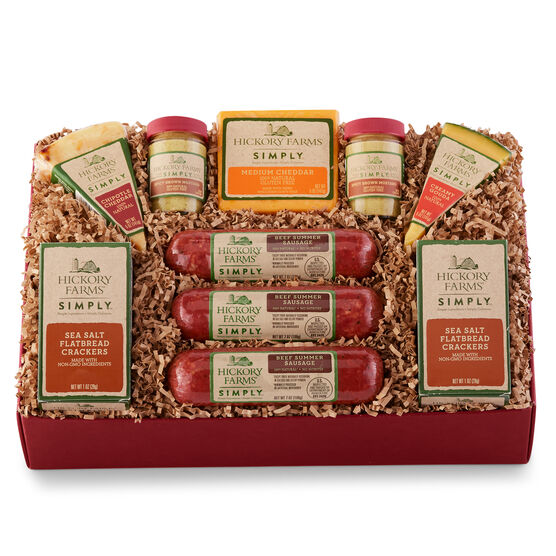 simply grand celebration gift box includes natural summer sausage, cheeses, mustard, and crackers