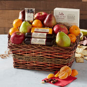 Orchards Bounty Gift Basket includes sausage, cheese, nuts, crackers, and fruit