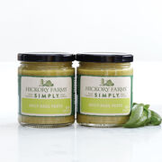 simply pesto with fresh basil, spinach, and spicy jalapenos