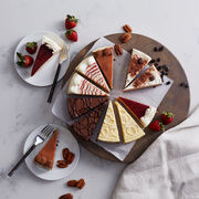 Cheesecake sampler flavors include lemon, double chocolate, raspberry, pecan caramel, cappuccino, and strawberry