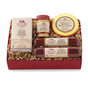 Hickory Farms Beef & Turkey Sampler includes summer sausage, mustard, cheese, and crackers