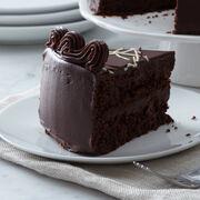 dark chocolate cake layered with fudge
