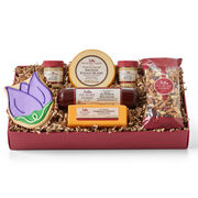 Spring Assortment includes summer sausage, cheese, nut mix, mustard, and a tulip cookie