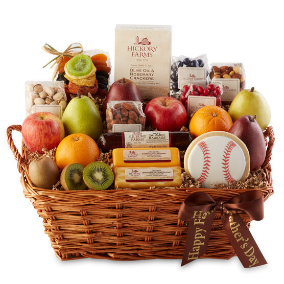 This Father's Day basket includes fruits, nuts, beef summer sausage, cheese, crackers, and a cookie.
