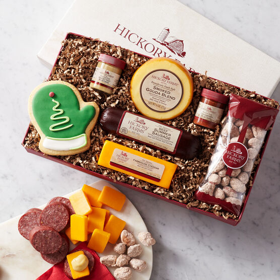 Holiday Cravings Assortment Gift Box includes sausage, cheese, nuts, and pretzels