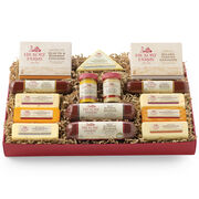 gift box includes beef summer sausage, turkey summer sausage, mustard, and various cheeses