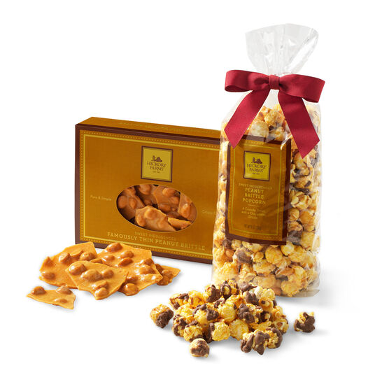 combination includes famously thin peanut brittle and peanut brittle popcorn