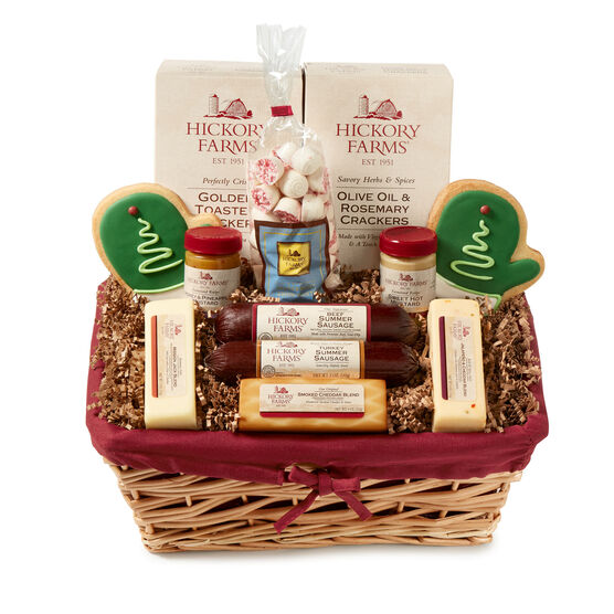 Family Celebration Gift Basket includes summer sausage, various cheeses, mustard, crackers, and pretzels