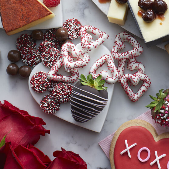 Valentine's Flight includes chocolate nonpareils, brownie bites, and heart shaped pretzels