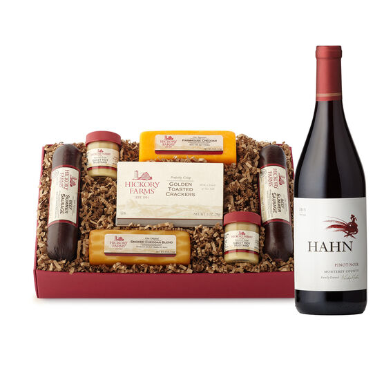 Red Ribbon Treat Gift Box includes summer sausage, cheese, mustard, crackers, and red wine