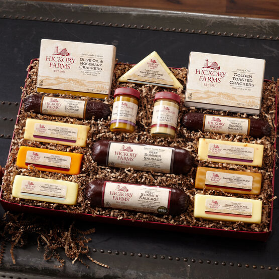 best friends gift box includes beef summer sausage, turkey summer sausage, mustard, and various cheeses