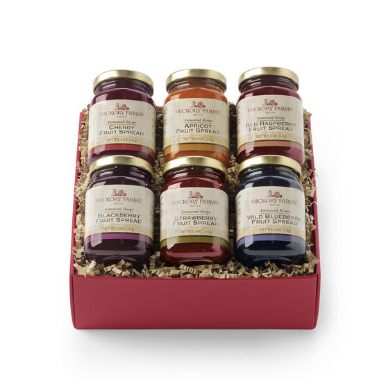 Gift box includes cherry, apricot, raspberry, blueberry, strawberry, and blackberry fruit spread