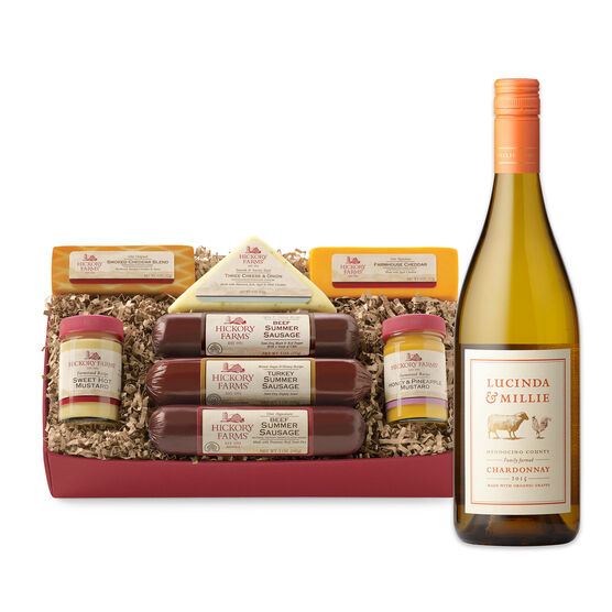 Hickory Fireside Gift Box includes summer sausage, cheese, mustard, and Chardonnay