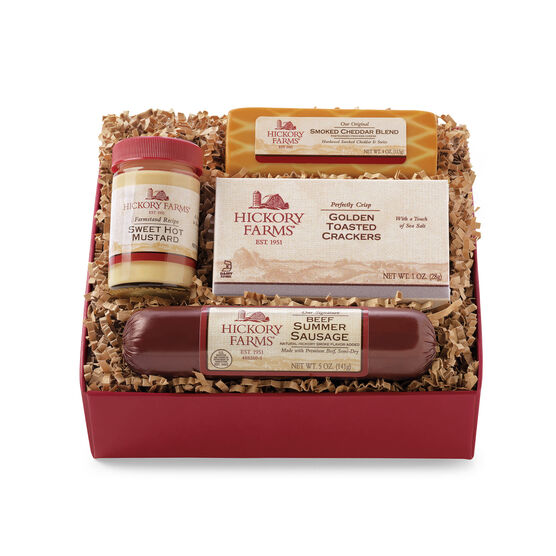 Hickory Farms Beef Hickory Sampler Gift Box includes summer sausage, cheese, and crackers