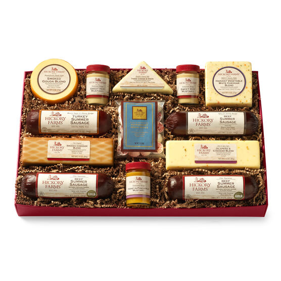 deluxe smokehouse gift box includes summer sausage, cheese, mints, and mustard