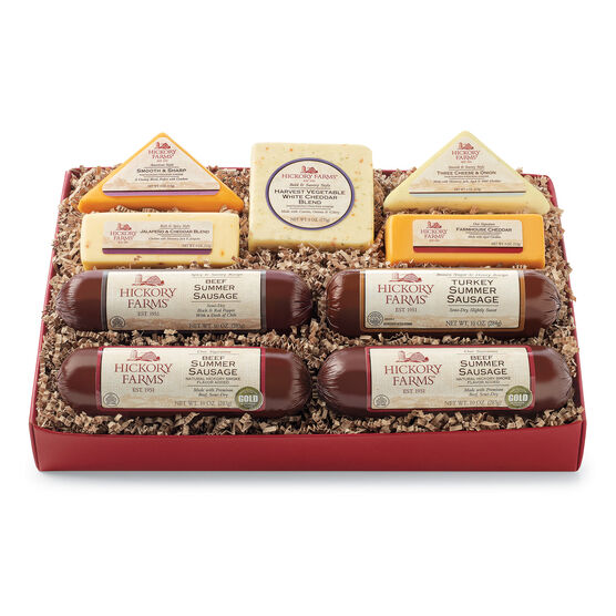 Deluxe Gift Box includes summer sausage, various cheese, and crackers