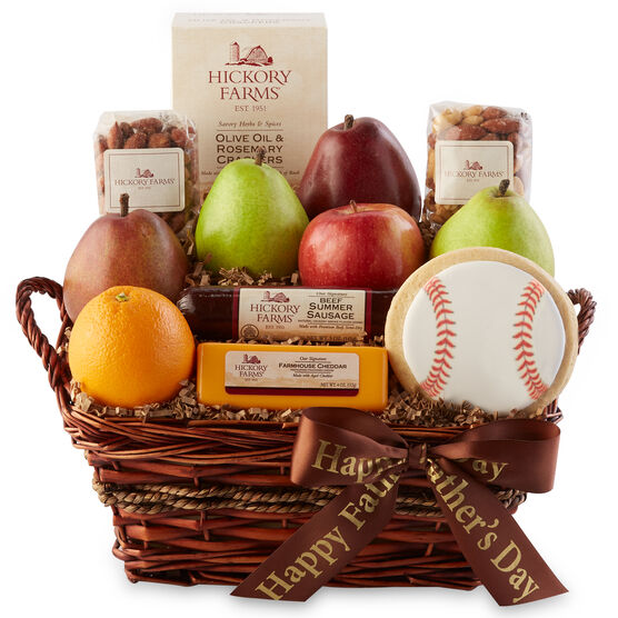 This savory Father's Day basket includes a mix of meat, cheese, fruit, nuts, and a cookie,