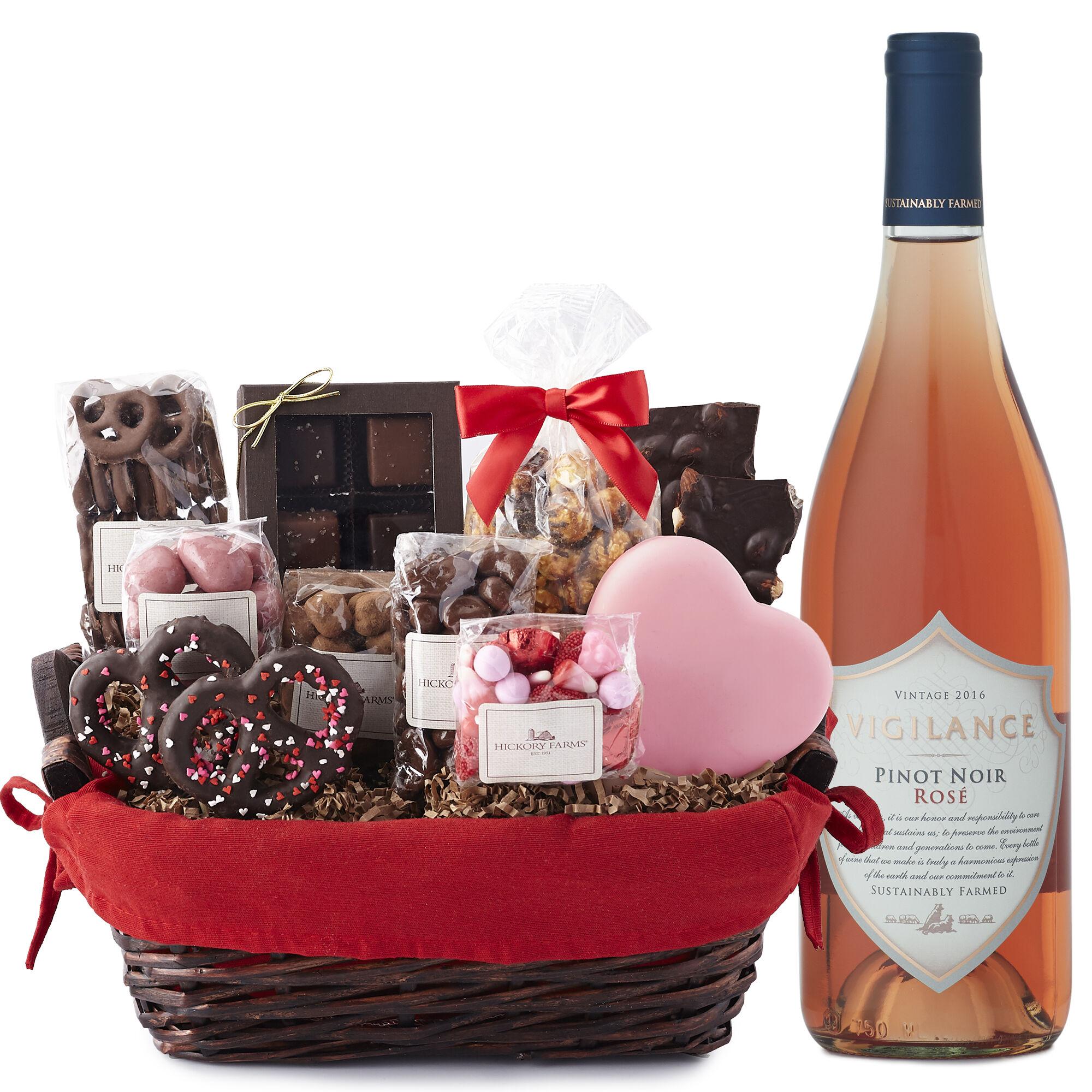 Valentineu0027s Day Sweets U0026 Rosé Gift Basket