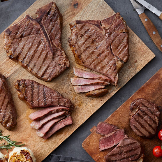 The Gourmet Assortment includes filets, NY strip steaks, and porterhouse steaks