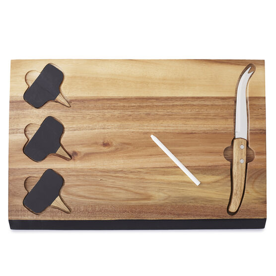Acacia Wood Serving Set with chalkboard cheese markers, cheese knife, and writing utensil