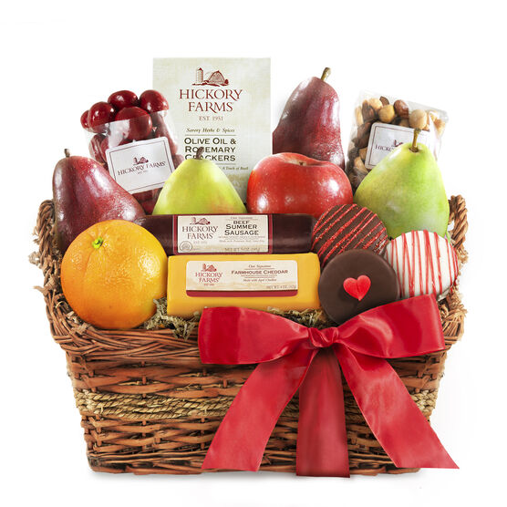 Valentine's Day Snack Basket includes summer sausage, cheese, fruit, nuts, and crackers