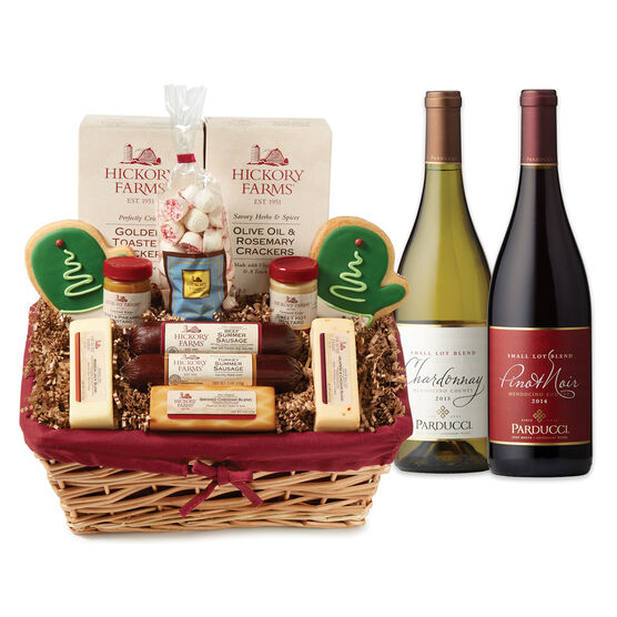 Winter Wonderland basket includes sausage, cheese, mustard, mints, cookies, and wine
