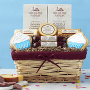 Signature Birthday Gift Basket with beef summer sausage, various cheeses, crackers, and two cupcake cookies