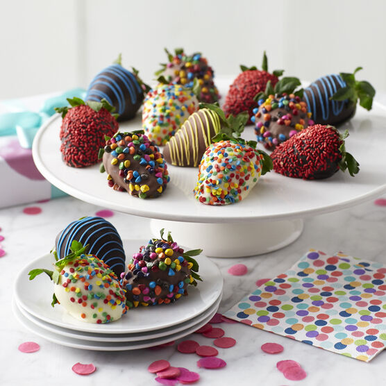 12 ct. chocolate covered strawberries with birthday sprinkles