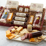 Meat & Sweet Gift Box includes sausage, cheese, mints, nuts, and crackers