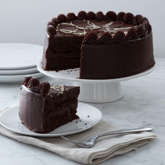 intense chocolate fudge layer cake