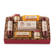 beef and hearty gift box includes crackers, mustard, summer sausage, and cheeses