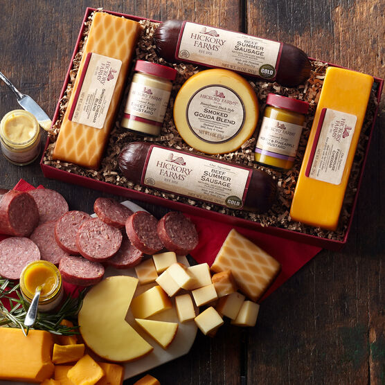 gift box includes mustard, beef summer sausage, and various cheeses