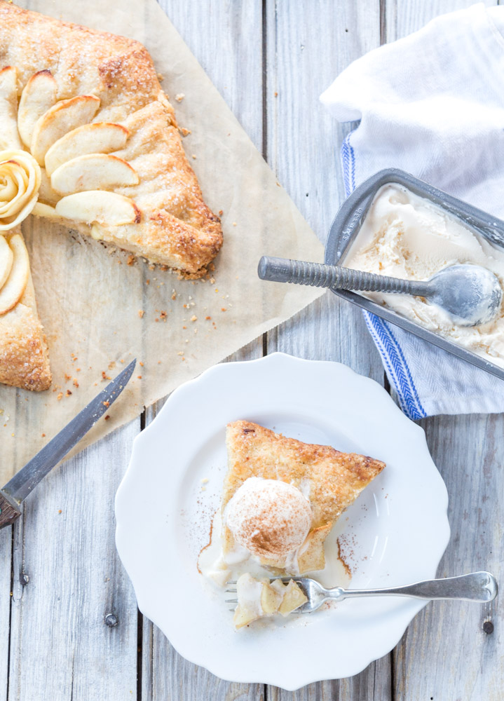 apple galette with ice cream