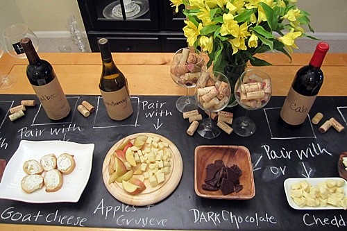 Chalkboard table runner for food labels from Hickory Farms