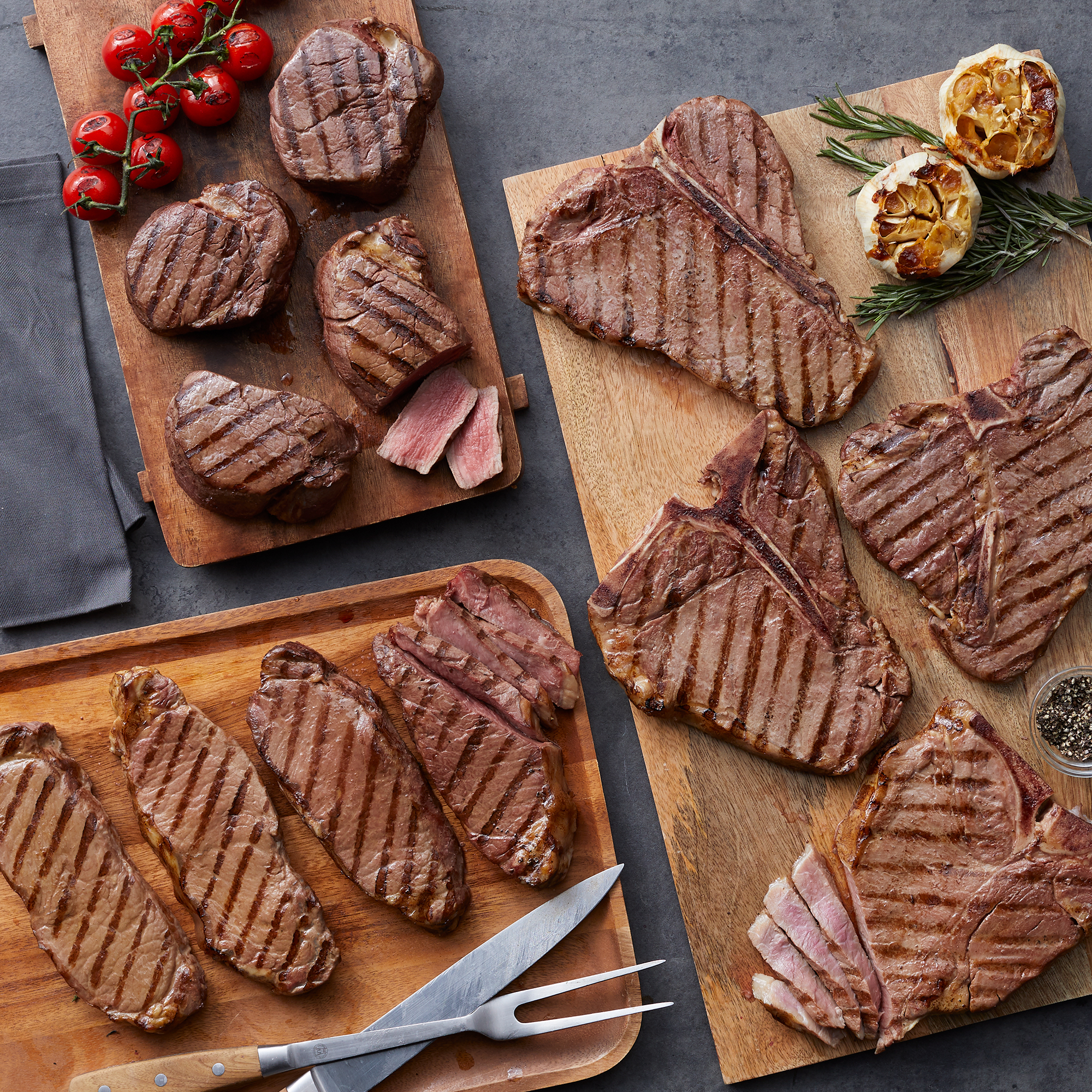 Grand Assortment includes filets, New York Strip Steaks, and Porterhouse steaks