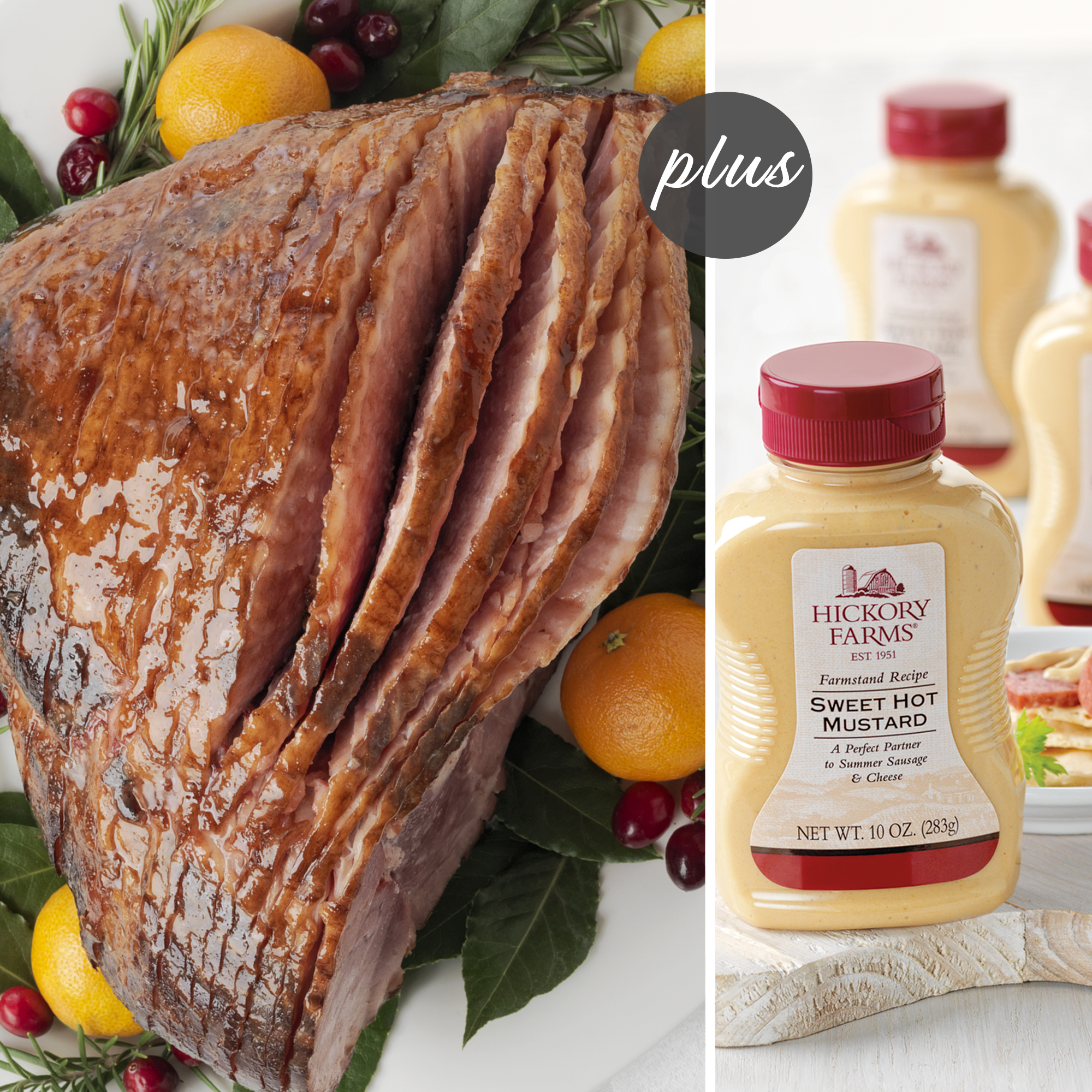 Signature Ham Collection includes a HoneyGold Spiral Sliced Ham and Sweet Hot Mustard