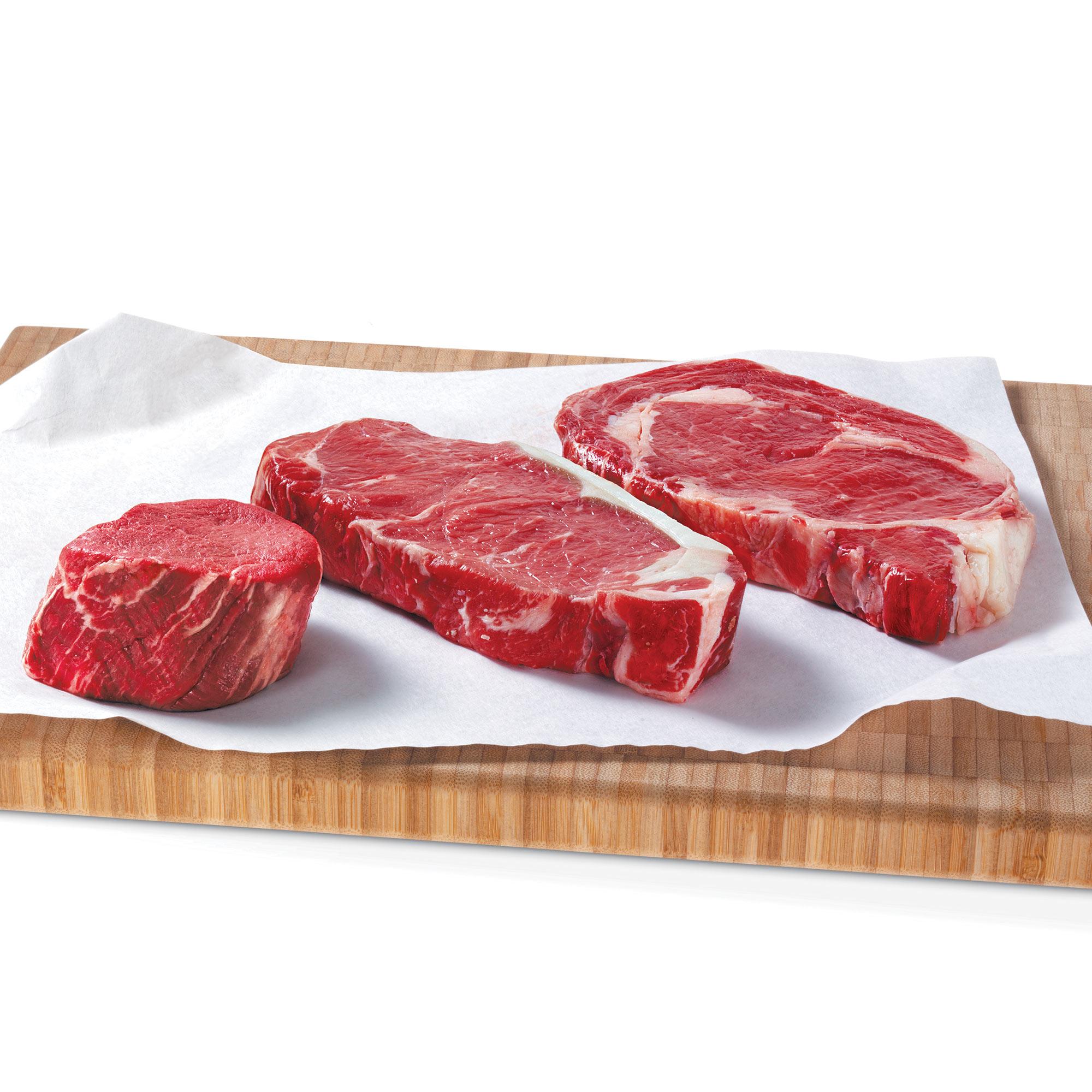 Pfaelzer's Quartet Assortment includes filets, New York strip steaks, and boneless ribeye steaks