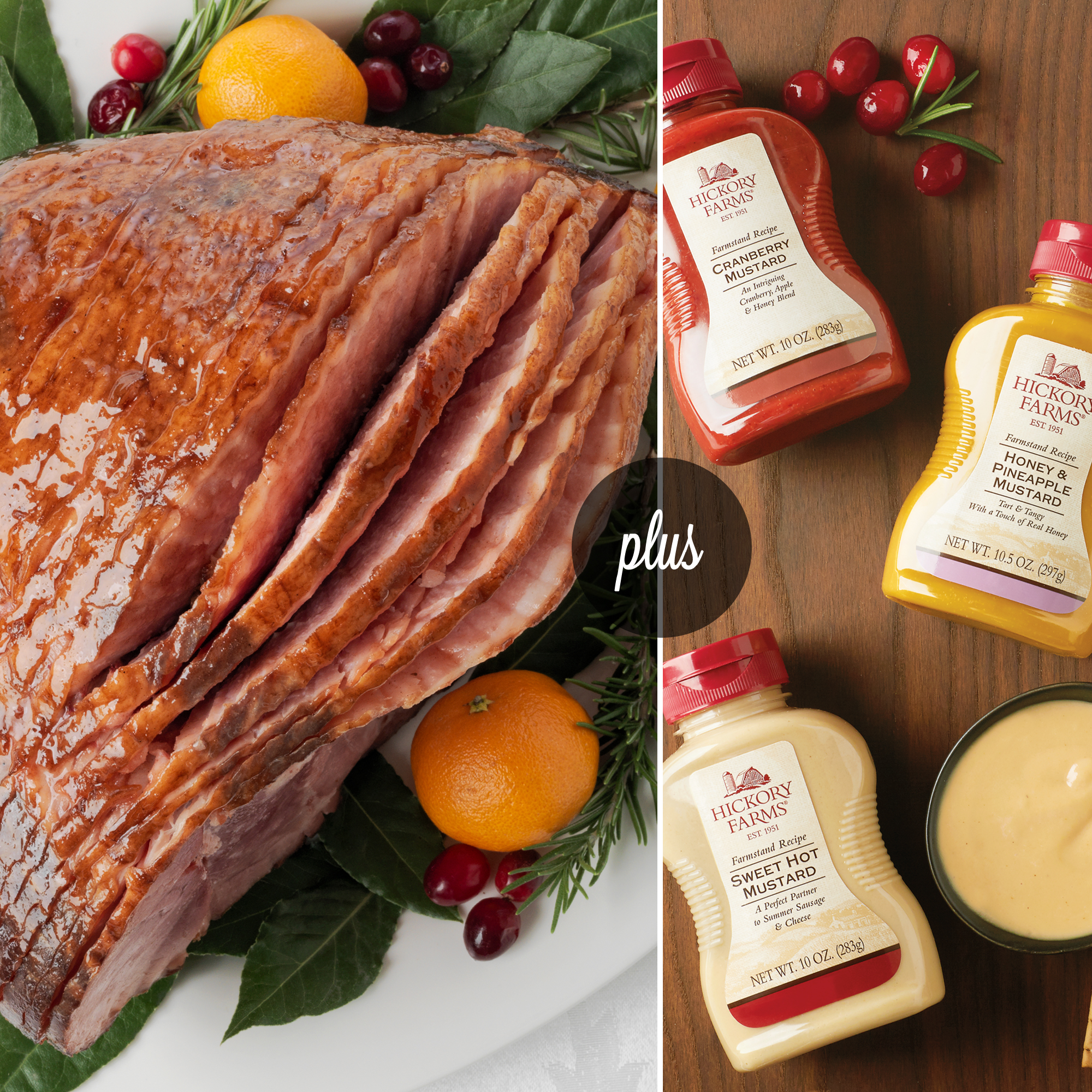 Signature Ham Collection includes our HoneyGold Ham and a Mustard Flight