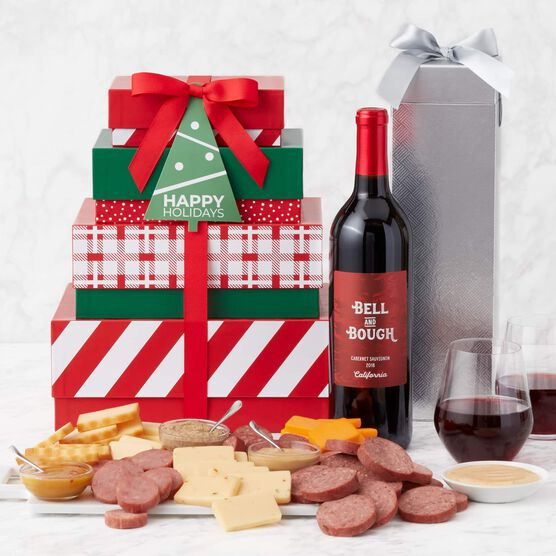 Holiday Gourmet Meat & Cheese Gift Tower with Wine Contents and Charcuterie