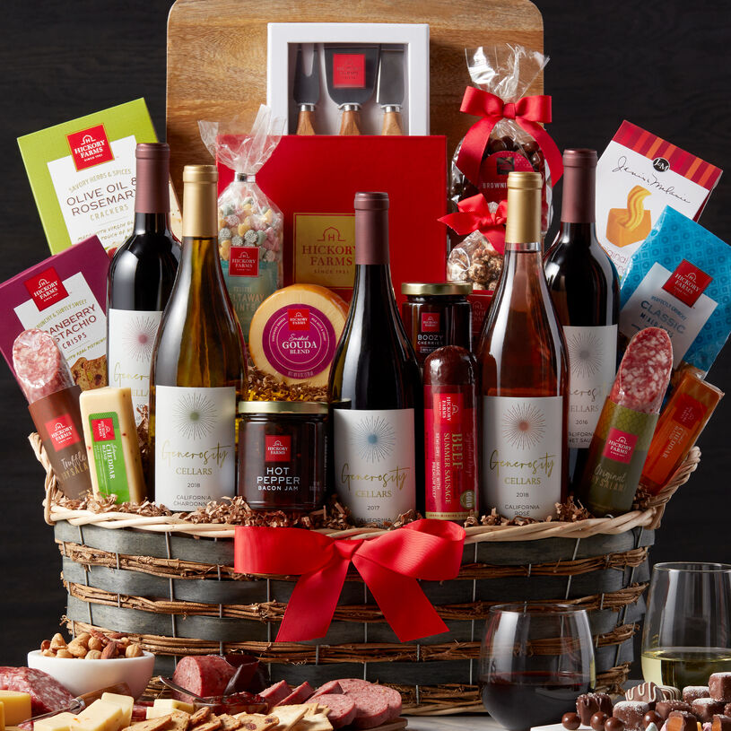 With five bottles of Generosity Cellars wines, this generous gift is the ultimate in baskets! It has everything they'll need to create a gourmet meat and cheese spread.