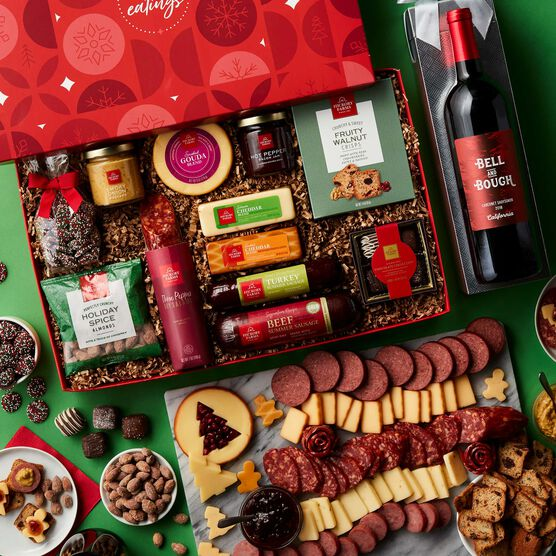 Alternate view of Season's Eatings Charcuterie & Chocolate Gift Box with Wine