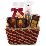 This basket is packed with decadent chocolates like Peanut Butter Meltaways and Dark Chocolate Caramels, Peanut Brittle Popcorn, Peppermint Snow Mints, and our rich hot cocoa mix.