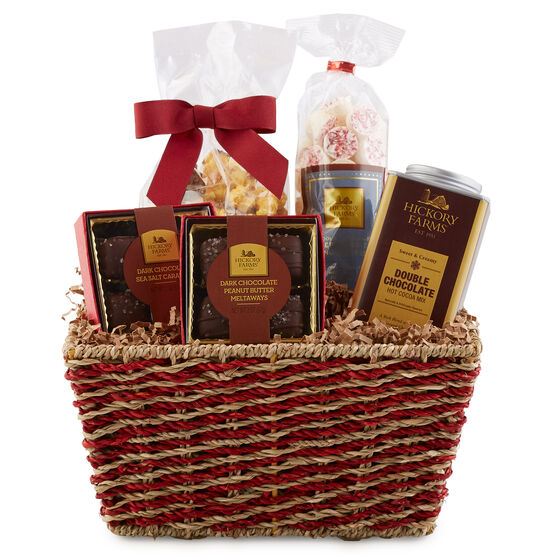 This basket is packed with decadent chocolates like Peanut Butter Meltaways and Dark Chocolate Caramels,