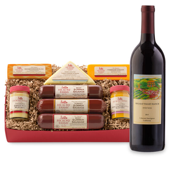 Here's to the Holidays Gift Box includes sausage, cheese, mustard, and Cabernet Sauvignon